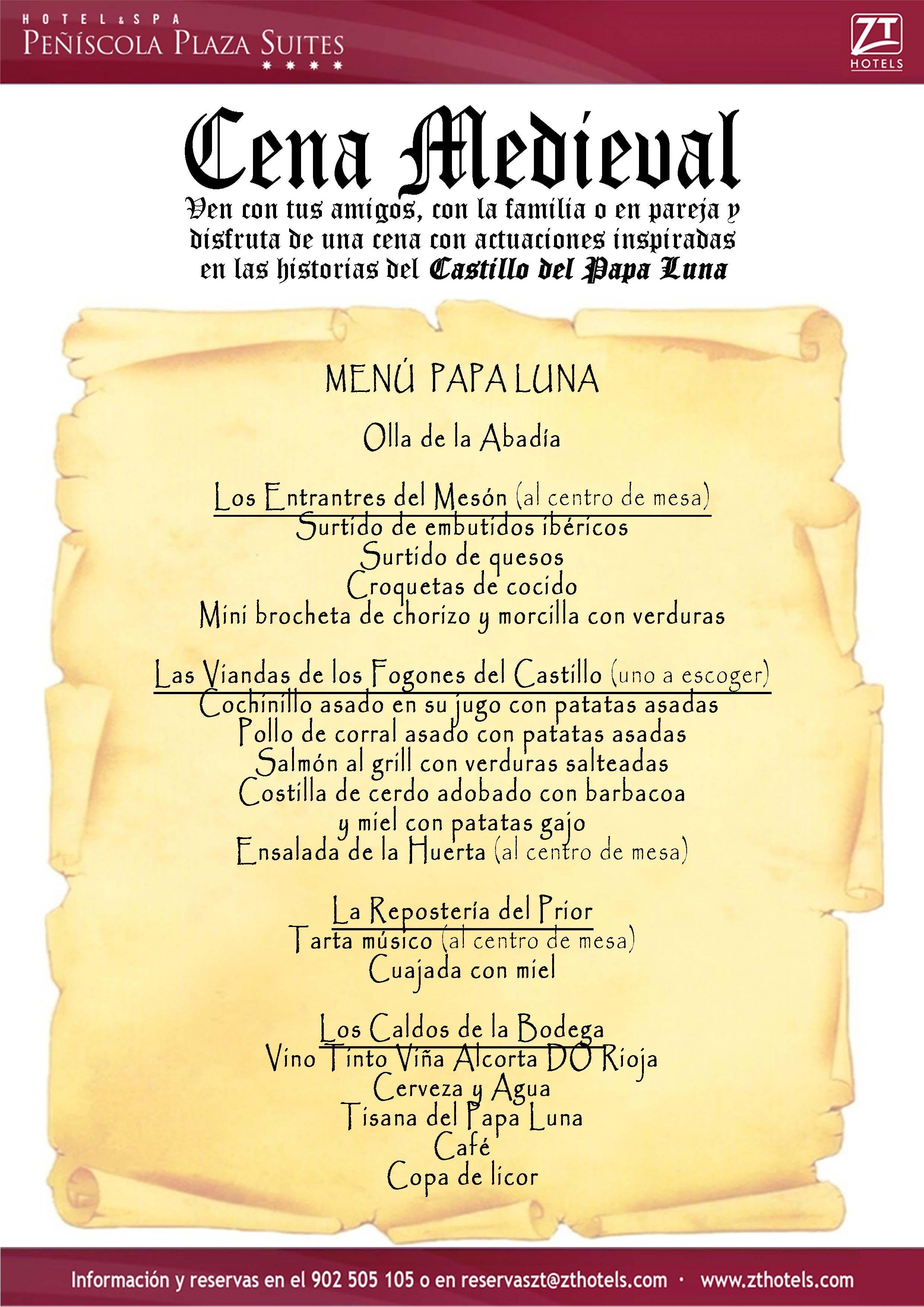 Inauguraci n de las cenas medievales del papa luna blog for Menu de cenas